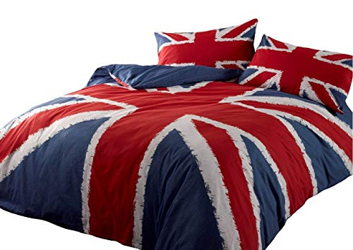 UNION JACK RED WHITE BLUE USA QUEEN (230CM X 220CM - UK KING SIZE) COTTON BLEND COMFORTER COVER SET ()