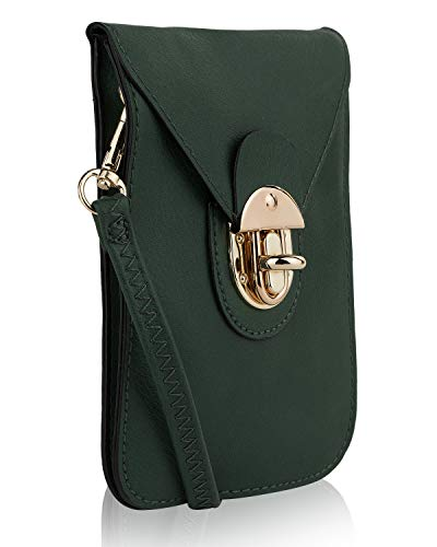 Womens Mobile Collection Edge (MKF Small Crossbody Cell Phone Wallets for Women - Purse with Shoulder Strap - Vegan Leather Cell Phone Bag Case Green)