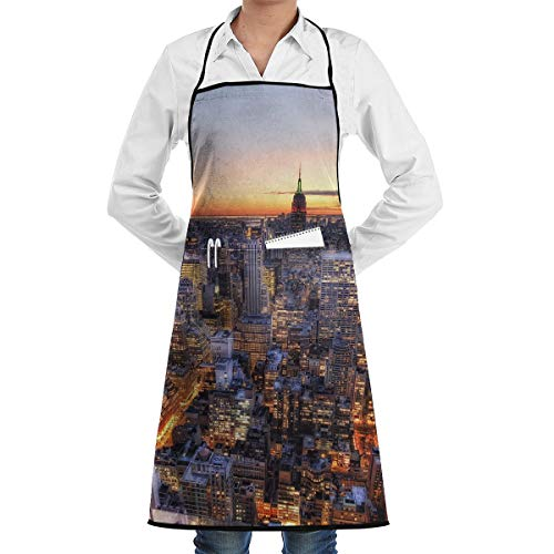 New York Center Rockefeller Apron Lace Adult Mens Womens Chef Adjustable Polyester Long Full Black Cooking Kitchen Aprons Bib with Pockets for Restaurant Baking Crafting Gardening BBQ Grill]()
