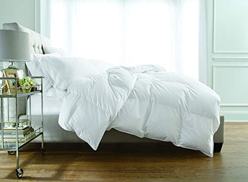 Royal Velvet 400TC 1/4'' Stripe Down Fiber Comforter Full-Queen in White Color