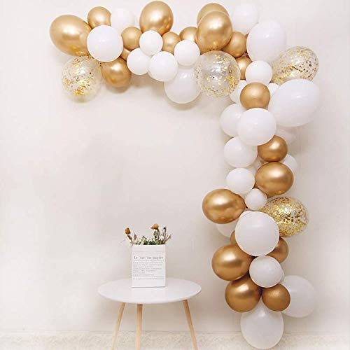 BALONAR DIY Garland Balloon 65pcs Assorted Latex Balloon Gold Metallic Chrome Balloon in Gold and White Latex Balloon with 12inch Gold Pre-filled Confetti Balloon for Any Party Wedding Anniversary Bir