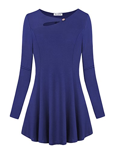 Becanbe Mini Dress Shirts for Women, Womens Long Sleeve Round Neckline Flatter Sexy Tunic Tops Plus Size(Blue,XX-Large) ()