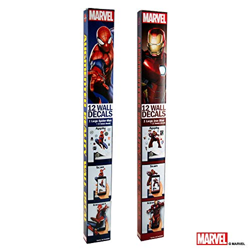 Marvel Spider-Man & Iron Man Bundle Augmented Reality Stickers for Kids Rooms - Kids Wall Decals for Bedroom are Easy to Put Up On Wall & Peel Off - Best Bedroom Décor by Marvel (Image #7)