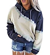 Happy Sailed Womens Plus Size Hoodies Tops Tie Dye Printed Long Sleeve Drawstring Pullover Sweats...
