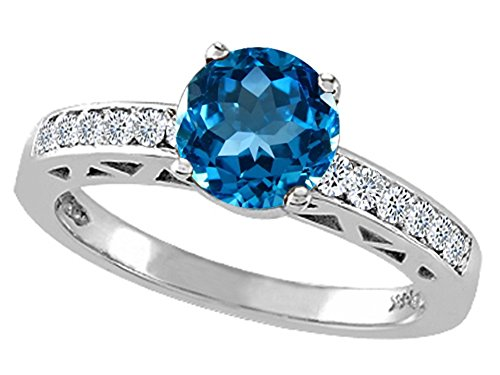 Tommaso Design Genuine Blue Topaz Solitaire Engagement Ring 14kt Gold