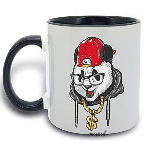 ol Panda Wearing Glasses Red Hat Gold Money Necklace Cup Funny Coffee Mug 11 oz Ceramic Mug for Kitchen Office Black Inside Black White Grey ()