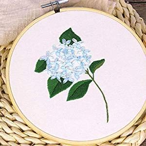 camaTech Cross Stitch Embroidery Kit - DIY Starter Kit for Art Craft Handy Sewing Including Color Pattern Embroidery Cloth,Embroidery Hoop,Color Thread,Tools (Diameter: 5.9inch, Hydrangea macrophylla)