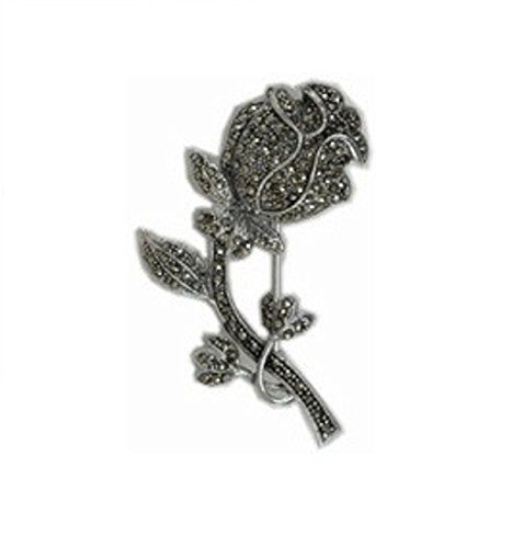 Sterling Silver Marcasite Rose On Stem Flower Brooch Pin - Flowers Marcasite Brooch