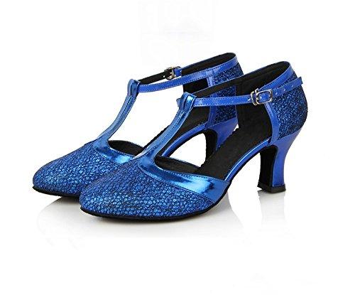 Danse à Semelles De En à contemporain Jazz Tmkoo Hauts Latine Talons Souples Danse Bleu Chaussures EwS0xnqg