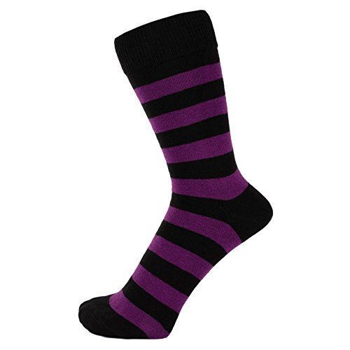 ZAKIRA Finest Combed Cotton Striped Dress Socks for Men, Women (Purple/Black, US 7-12)