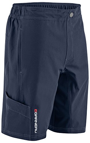 Louis Garneau Men's Range Mountain Bike Padded MTB Cargo Shorts, Dark Night, Small