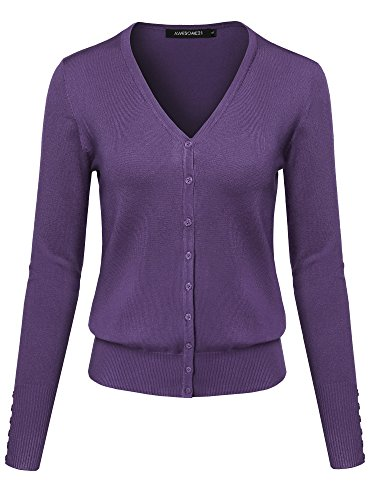 Basic Solid V-Neck Button Closure Long Sleeves Sweater Cardigan Purple M ()