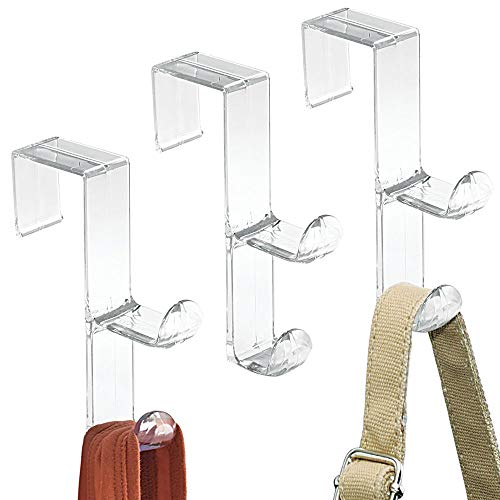mDesign Over The Door Organizer Hooks for Coats, Hats, Robes, Towels - Set of 3, Double Hook, Clear