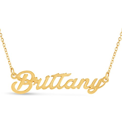 Nameplate Chain Necklace - Brittany Nameplate Necklace In Gold Tone