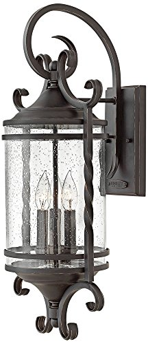 Hinkley 1148OL-CL Casa - Three Light Outdoor Large Wall Mount, Olde Black Finish with Clear Seedy Glass