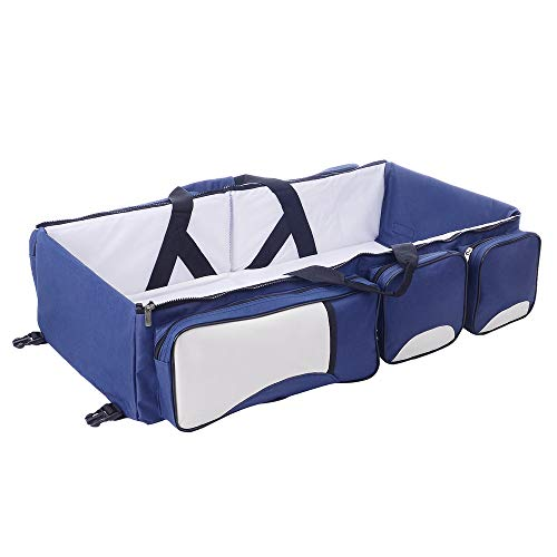 Baby Travel Bed Bag Baby Diaper Bag Portable Baby Diaper Change Station 4 in 1 Folding Baby Bag Newborn Carrier Infant Bassinet Baby Tote Bag Folding Crib Baby Shower ()