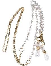 Bifei White Pearl Beaded Eyeglass Chain, Eyewear Sunglasses Cord Neck Strap Holder