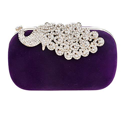 Mariage Pochette Diamant Sac à Sac Suède Femmes Bal Purple Soirée Velours Fête Paon De Main Clutch q84FnwE