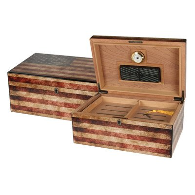 Old Glory Cigar Humidor, Weathered American Flag Exterior, 1 Glass Hygrometer, 1 Rectangle Humidifier, Spanish Cedar Tray with Divider, Holdsup To 100 Cigars, by Quality Importers
