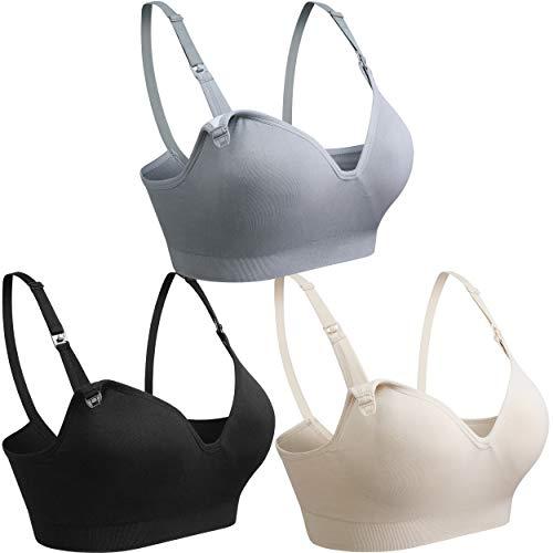 COOSHCO BAOMOSI Women's Seamless Nursing Maternity Bra Push Up Comfort Sleeping Breastfeeding Bralette Black Beige Grey Small