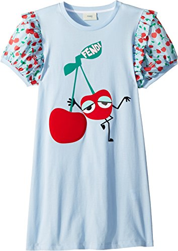 Fendi Kids Girl's Cherry Graphic T-Shirt w/Cherry Sleeves (Big Kids) Blue 12 Years by Fendi Kids