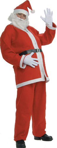 Rubie's Value Flannel Santa Suit With Beard and Wig, Multicolored, Large - Inexpensive Costumes