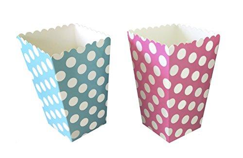 Gender Reveal Popcorn Treat Boxes - Pink Blue- Polka Dot - 24 Pack -