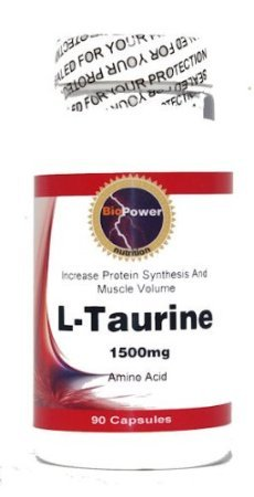 L-Taurine - # 180 Capsules L-Taurine 1500mg Increase Muscle Mass & Strength - BioPower Nutrition (2 Bottles)
