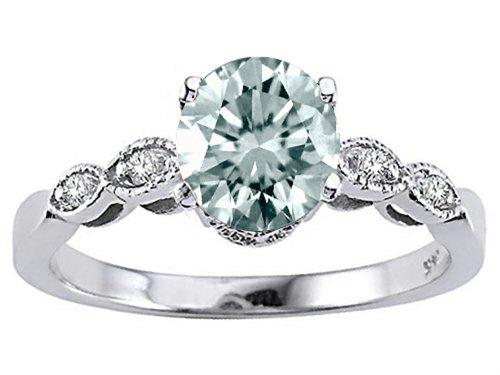 (Tommaso Design Genuine Aquamarine Round 7mm s Solitaire Engagement Ring 10 kt White Gold Size 7.5 )