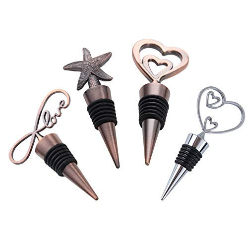 Decorative Starfish and Heart Wine and Beverage Bottle Stoppers Cap,Keep Wine Fresh,Made of Zinc Alloy/Copper Material,Reusable Plug,Set of 4