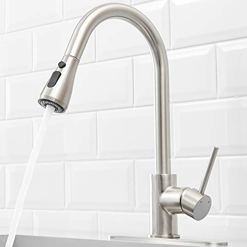 - HEABLE Kitchen Sink Faucet with Pull Down Sprayer Brushed Nickel, Single Handle High Arc Pull out Kitchen Faucet, Single Level Solid Brass Kitchen Sink Faucets with Deck Plate