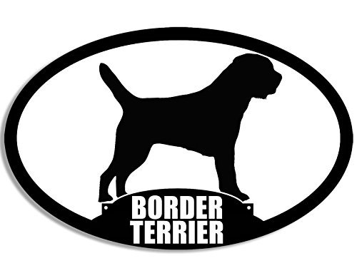 MAGNET Oval BORDER TERRIER Silhouette Magnetic Sticker (dog breed) ()