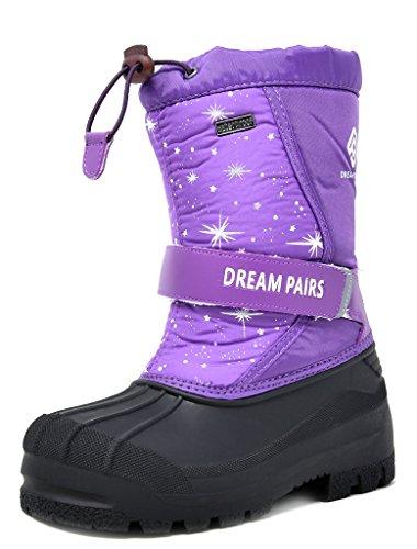 DREAM PAIRS Little Kid Kamick Purple Mid Calf Waterproof Winter Snow Boots Size 2 M US Little Kid