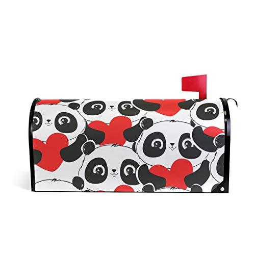 Tengyiyi Pandas Hearts Mailbox Cover Post Box Decorative Large Sized Design ()
