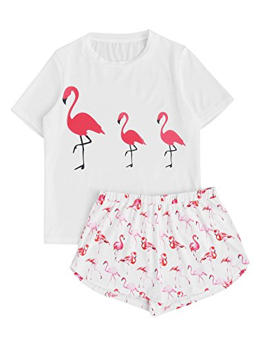 DIDK Women's Cute Cartoon Print Tee and Shorts Pajama Set White Flamingo L