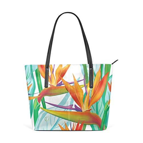 Tote Bags Birds Of Paradise Flower Leather Satchels Purses Shoulder Satchel Womens