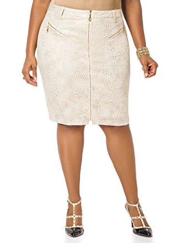 ac83561f99 Ashley Stewart Women s Plus Size Zippered Gold Foil Skirt Dress ...