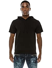 Men's Short Sleeve Plain Cotton Midweight Hoodie Shirts