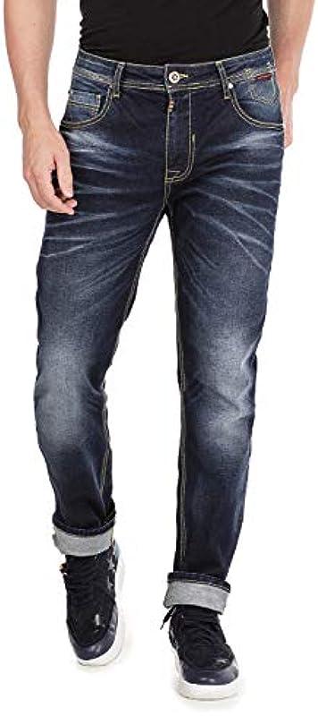 Cipo & Baxx męskie dżinsy Used Look Straight Fit Denim spodnie Five Pocket Design spodnie z kontrastowymi szwami ciemnoniebieskie W31 L32: Odzież