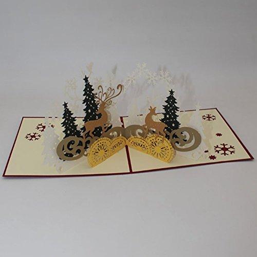 Gsha Christmas Cards, 3D Pop Up Greeting Cards Envelope Handmade Gift Card Festivals Parties Invitation Card 1515cm -
