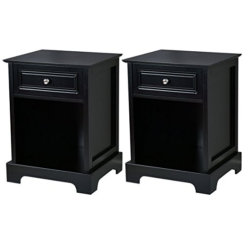 Giantex Set of 2 Nightstand W/Drawer Open Shelf for Home Bedroom Furniture Chest Sofa Side Bedside Storage End Table (Black) ()
