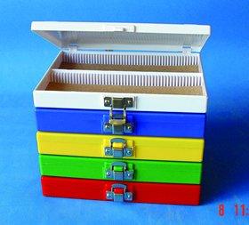 Hinge Microscope Slide Boxes 100 Capacity, Blue, 10/PK