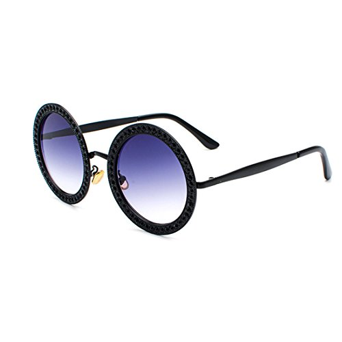 cadre Gris polycarbonate lunettes soleil strass MUCHAO en de rondes Noir métal en Mesdames Lens C8174qxS