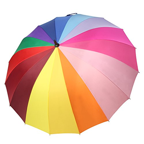 Rib Wheel - Saiveina 47 Inch Auto Open Straight Strong Durable Umbrella, 190T Fiber Waterproof Windproof Sport Umbrella 16 Ribs (SV1258 - Colorful)