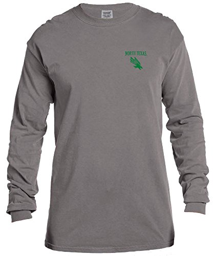 - NCAA North Texas Mean Green Vintage Poster Comfort Color Long Sleeve T-Shirt, Large,Grey