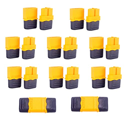 Amass XT60H Connectors Male Female Bullet Plug Adapters Sheath Covers RC Lipo Battery(10 Pairs) (Radio Control Truck Pulling)