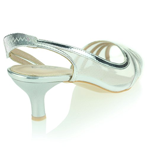 Mujer Señoras Ver A Través de Peep Toe Slingback Tacón Bajo Noche Fiesta Boda Prom Nupcial Sandalias Zapato Talla Plata