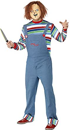 Smiffy's Men's Chucky Costume, Top, Dungarees & Mask, Size: S, Colour: Blue,