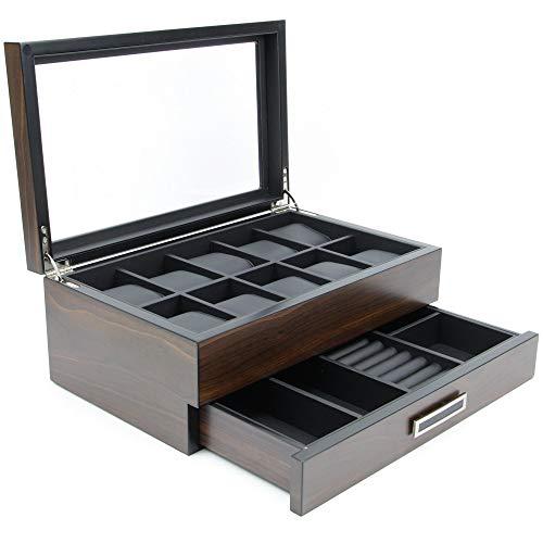 (Executive High Class Wood Watch, Sunglasses,Cufflink Case & Ring Storage Organizer Men's Jewelry Box Gift (Dearest))