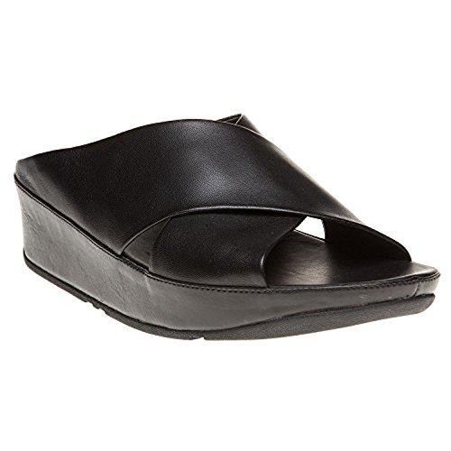 Sandalias De Mujer Fitflop Kys Leather Slide Y Paquete De Spray Protector Solar All Black